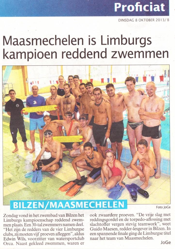 artikel krant - reddend zwemmen